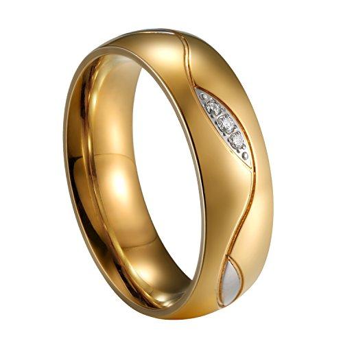 JewelryWe Schmuck Ehepaar Hochzeit Ring Runde Form Blatt Breite 6mm Edelstahl Ehering Gold Verlobungsringe Trauringe für Damen - Größe 57