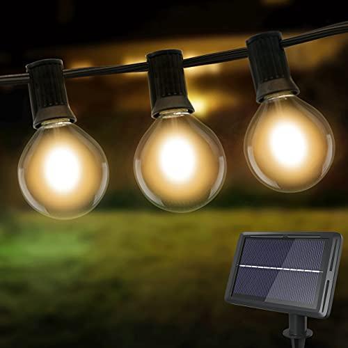 Lichterkette Außen Solar, litogo G40 Solar Lichterkette Glühbirnen Aussen 8M 25+2 LEDs IP55 Wasserdicht 4 Modus Solarlichterkette für Garten, Hochzeit, Balkon, Haus, Weihnachten Deko, Warmweiß 2700K