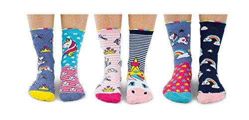 Unicorn Daze Socken für Mädchen, UK 12-5.5 / EU 30.5-38.5, 6 Stück