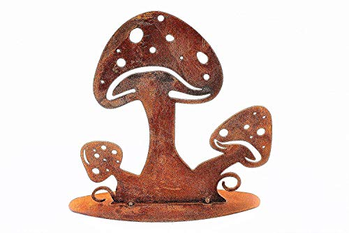 Rostikal | Edelrost Schwammerl, Rost Pilze auf Bodenplatte | Metall Herbstdeko | 15 cm hoch