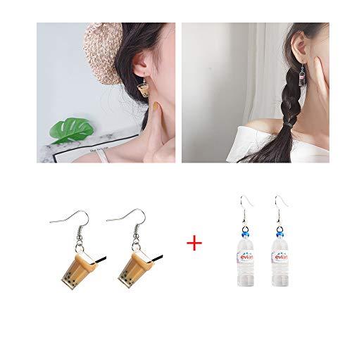 Kungfu Mall 1 Paar einzigartige Milchtee-Drink Ohrringe und 1 Paar Bohemian Wasserflasche Anhänger Ohrringe für Frauen lustiges Party-Geschenk