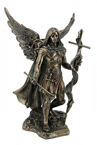 Erzengel heiliger Gabriel mit Kreuz und Trompete bronziert Figur Skulptur Esoterik Engel