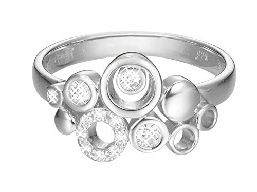 Esprit Damen-Ring JW50230 Messing rhodiniert Zirkonia weiß Rundschliff Gr. 57 (18.1) - ESRG02866A180