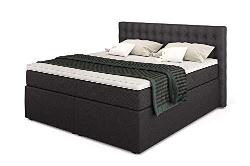 Betten Jumbo King Boxspringbett 200x200 cm 7-Zonen TFK Härtegrad H3 und Visco-Topper | Farbe Anthrazit | div. Größen verfügbar
