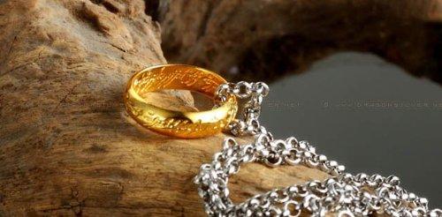 Der Hobbit - Der Ring der Macht 20,5mm - Hartvergoldet mit feiner Gravur innen und außen - inkl. 52-57cm Kette - The Lord of the Rings - Herr der Ringe