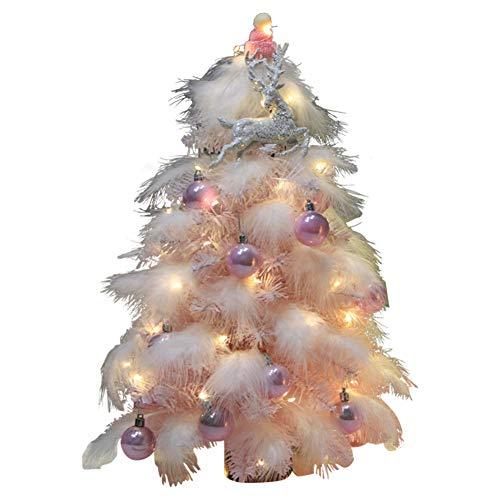 WZR Mini Künstlicher Weihnachtsbaum,DIY Schreibtisch-Oben Rosa Christbaum Einzigartige Geschenk Mit Holzständer Led-lichterketten Ornamente Weihnachtsdeko-rosa 45cm(18inch)