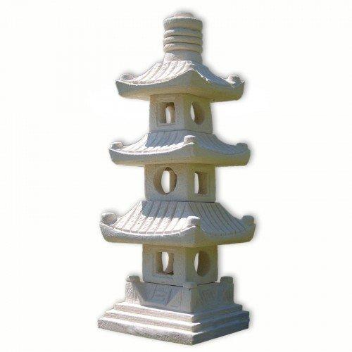 Steinfigur 3-stöckige Pagode Asiastyle Thailand asiatischer Garten Gartendeko