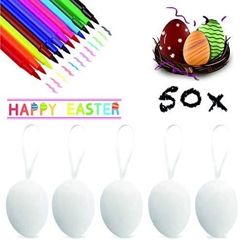 XJOO 50x Ostereier Dekoeier Plastikeier Eier für Ostern Zum Basteln Bemalen Aufhängen aus Plastik, Kunststoff Weiß Kunststoffeier für Deko Dekoration Weiß Osterdekoration