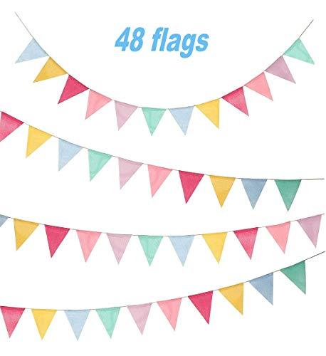 Cojoy 10 Mt Wimpel, Sackleinen Stoff Wimpelkette mit 48 stücke Dreieck Flags Multicolor Girlande für Geburtstag, hochzeit Party Dekoration