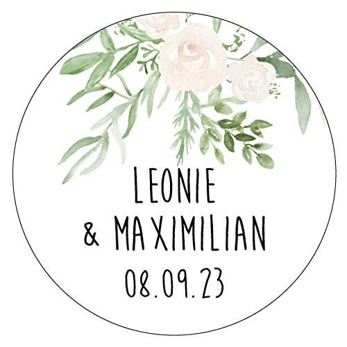 48 x Personalisierte Aufkleber in 40 mm Hochzeit Greenery Gastgeschenk Etikett