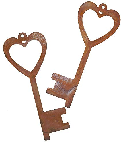 Rostikal 2er Set Rost Deko Schlüssel mit Herz 15 x 6 cm Gartendeko Vintage Shabby Deko aus Metall