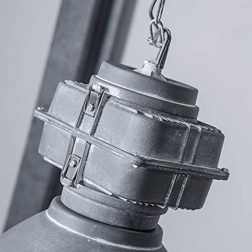 Lightbox Vintage Pendelleuchte, Industrial Lampe, mattierter Glasscheibe, Ø 47cm, E27 Fassung für max. 60 Watt, Hängelampe, Beton Grau