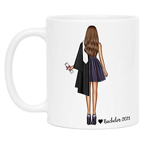 Kiddle-Design Bachelor Master Abschluss Tasse 2021 als Geschenk mit Name Absolventin Doktor Personalisierte Kaffeetasse Frauen Damen Personalisieren