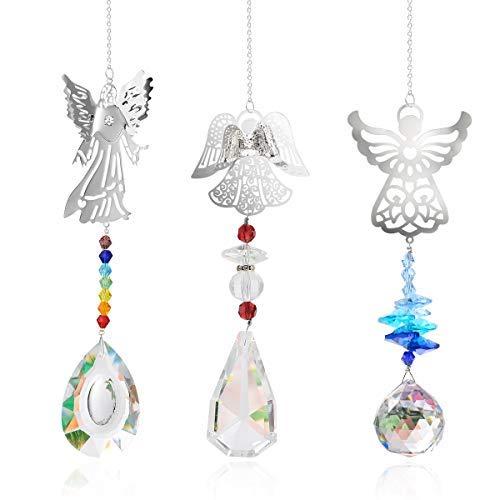 Herefun 3 Stück Kristall Regenbogen Sonnenfänger Hängende Kristalle Deko Anhänger Fenster Glas Anhänger Kristallkugel Prisma für Zuhause Büro Garten Dekoration