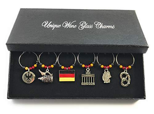 Set von 6Deutschland/Deutschland Wein Glas Charms mit Geschenkbox handgefertigt von Libby 's Market Place