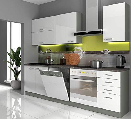 Küche Bianca Basic I 240 cm Küchenzeile Hochglanz weiß Küchenblock Einbauküche