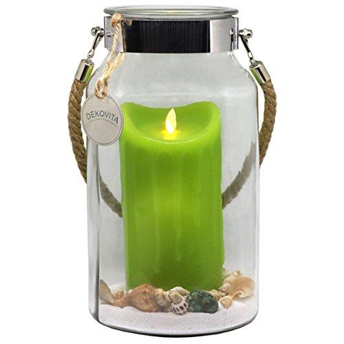 Dekovita Geschenkidee 30cm Dekoglas LED-Echtwachs Kerze grün m. bewegter Flamme u. Deko-Sand Ostern Muttertag Geburtstag