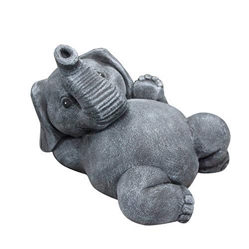 Tiefes Kunsthandwerk Steinfigur Elefant liegend Schiefergrau, Garten Deko Figur Stein Frostsicher
