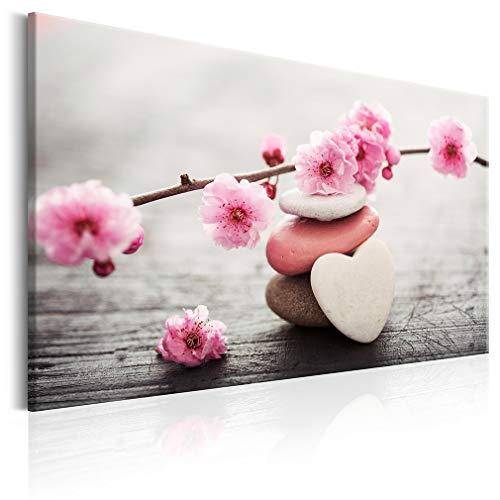 decomonkey Bilder Blumen 120x80 cm 1 Teilig Leinwandbilder Bild auf Leinwand Vlies Wandbild Kunstdruck Wanddeko Wand Wohnzimmer Wanddekoration Deko Herz Natur Feng Shui Spa Zen Love