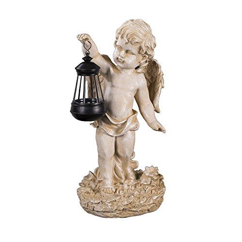 Engel NF86335 C , Groß 42 cm hoch , Gartenengel, Deko Engel mit LED Solar Lampe, Antik Weiß, Dekorationsfigur Gartendekoration, Gartenfigur, Engelsfigur, Schutzengel, Skulptur, Windlicht,