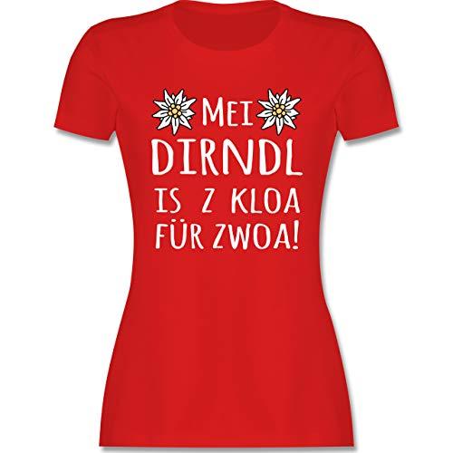 Oktoberfest Damen Party Outfit Accessoires - MEI Dirndl is z kloa für zwoa! weiß - L - Rot - Dirndl Umstandsmode - L191 - Tailliertes Tshirt für Damen und Frauen T-Shirt