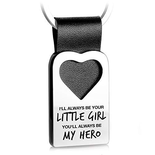 FABACH Herz Schlüsselanhänger mit Gravur aus Leder - Bester Papa - Vater Tochter Geschenk Anhänger für Vatertag und Geburtstag - Always Your Little Girl, Always My Hero