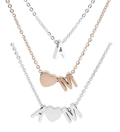 Personalisierte Buchstaben Damen Halskette Choker/Armband aus Edelstahl Namenskette   Karabinerverschluss 45cm + 5cm Extra   Alphabet A-Z   Klassischer schmuck Herz Kette als Geschenk