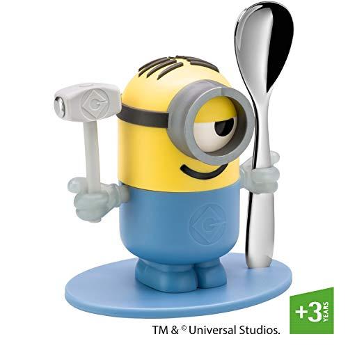 WMF Minions Eierbecher mit Löffel, Kunststoff, Cromargan Edelstahl poliert, spülmaschinengeeignet, gelb, blau
