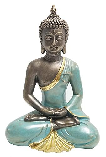 Dehner Dekofigur Buddha betend, 41.5 x 27.5 x 19 cm, Polyresin, türkis/grau/Gold