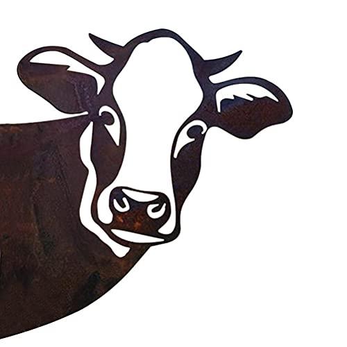 Kuh Gartendeko, Kuhkopf Gartenstatuen Metall Rostoptik Gartenfigur Gartenstecker Rost Deko für Garten Terrasse Balkon