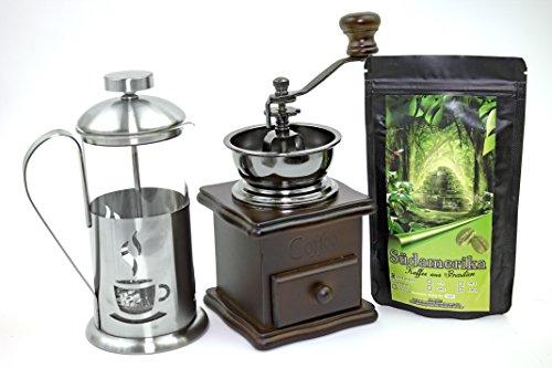 Kaffee Geschenk-Set Südamerika 250 g Länderkaffee aus Brasilien Ganze Bohnen, Retro-Kaffeemühle und Stempelkanne 350 ml