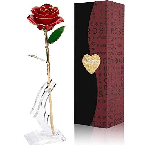 Rose, Gomyhom 24k Gold Rose Handgefertigt Konservierte Rose - mit Geschenkbox für Frau Freundin/ Muttertag/ Geburtstag/ Hochzeitstag/ Jahrestag Künstliche Rose