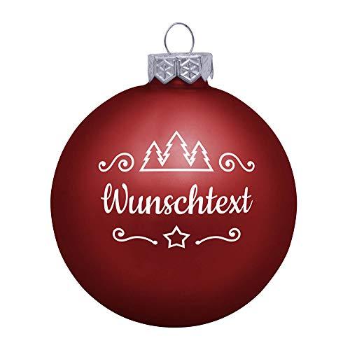 Deitert Weihnachtskugel mit Wunschtext Gravur, Ø 8cm, Personalisierte Christbaumkugel aus Glas (matt), Individueller Weihnachtsbaumschmuck Namen oder Spruch, Rot