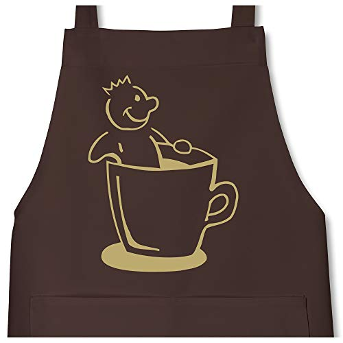 Shirtracer Kaffee König - 80 cm x 73 cm (H x B) - Braun - X967 - Kochschürze mit Tasche