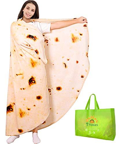 Tortilla Decke Burrito Blanket 200cm Doppelseitig, Riesen Runde Neuheit Taco Wohndecke Weiche Warme Flanell Kuscheldecken Realistisches Essensmuster Kreative Geschenke für Kinder Familie