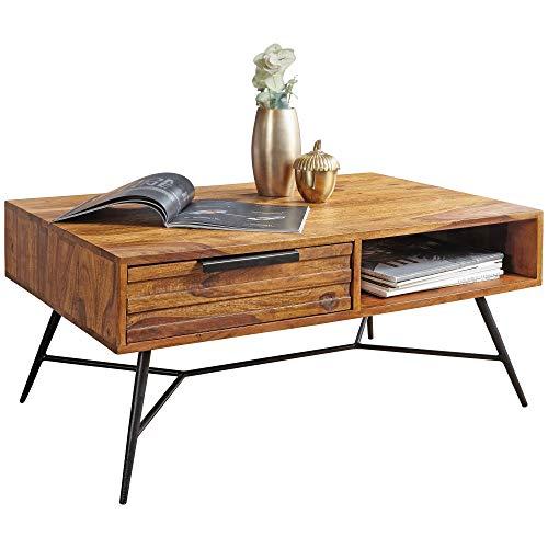 FineBuy Couchtisch FB50901 87 x 41 x 55 cm Sheesham Massiv Holz   Design Holztisch mit Stauraum und Schublade   Massivholztisch Wohnzimmer   Retro-Industrial Wohnzimmertisch mit Metallbeinen