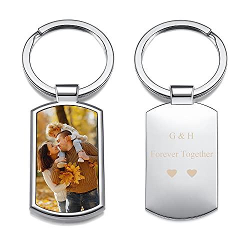 JSDDE Personalisierte Schlüsselanhänger mit Fotogravur Erkennungsmarke ID Tag Gravurplatte Schlüsselringe Charms Keychain Schlüsselbund Geschenk Idee zum Jubiläum Geburtstag Valentinstag (Tag 2)