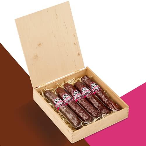 Salami Wurstzigarre in edler Geschenk-Box als außergewöhnliches Geschenk für Männer   lustiges Geschenk v. Freyberger   Fleisch-Geschenkideen   Mini Wurstsnack aus regionalem Fleisch