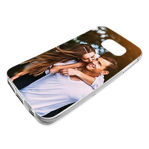 PixiPrints Foto-Handyhülle mit eigenem Bild kompatibel mit Samsung Galaxy S8, Hülle: dünnes Slim-Silikon in Transparent, personalisiertes Premium-Case selbst gestalten mit flexiblem Druck