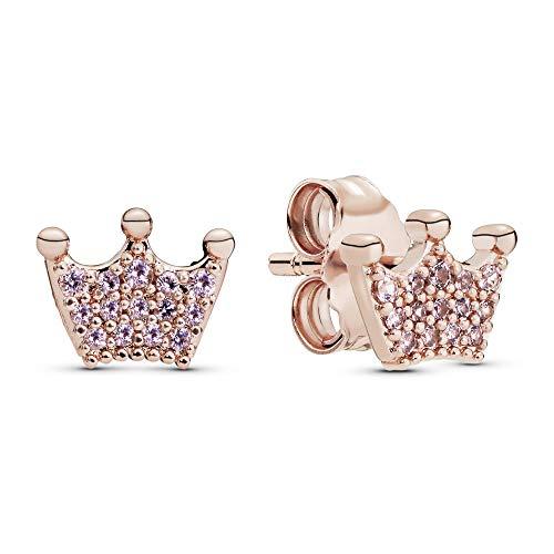 Pandora Krone Ohrstecker mit 14 Karat rosévergoldete Metalllegierung und Kristallen aus der Pandora Moments Collection