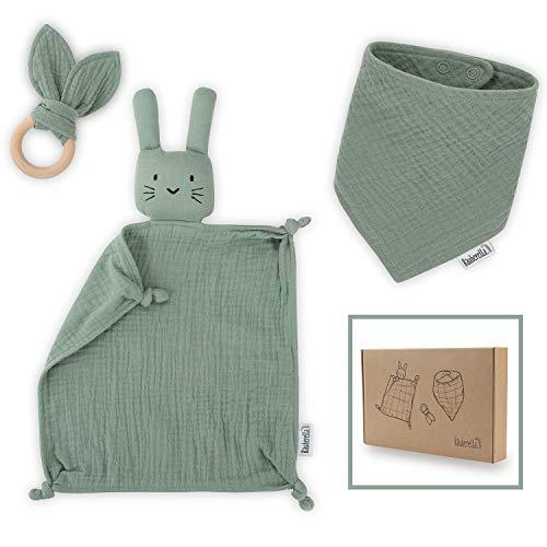 Räuberella Schmusetuch, Beißring und Lätzchen Baby Geschenk zur Geburt Junge & Mädchen Mint