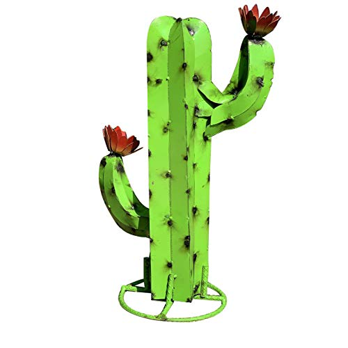 Angel&J Gartendeko Rost Kaktus Metall deko Kakteen Rostoptik Gartenstecker gartenstecker Groß aus Edelrost Metallkunst Metallkaktus Skulptur Garten Hof Skulptur Wohnkultur für Garten