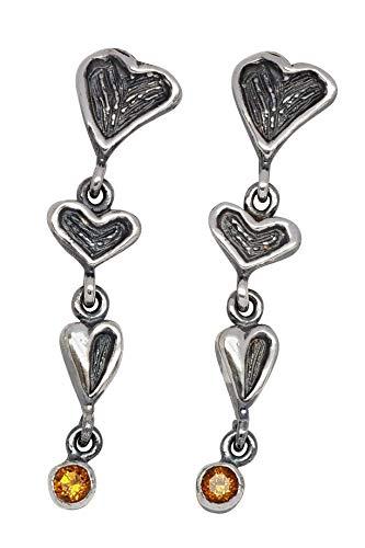 WormsRose im RosenGarten Herz - Ohrringe Ohrstecker mit Herzen & Citrin für Damen 925 Sterling-Silber