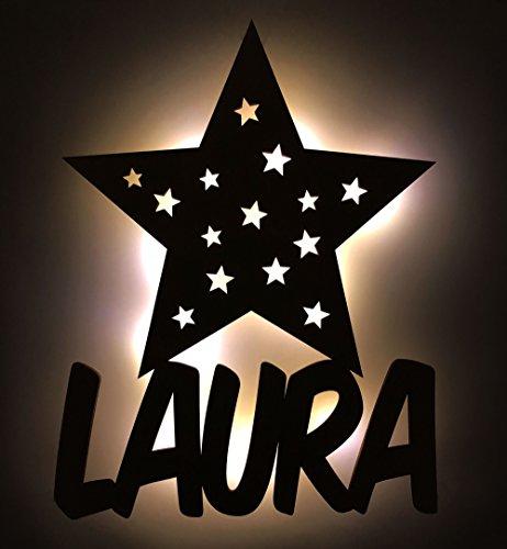 Schlummerlicht/Nachtlicht'Sterne' personalisiert mit Namen - Optional mit Zugschalter und Lackierung erhältlich