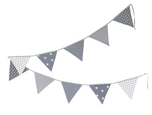 ULLENBOOM  Wimpelkette Graue Sterne (Stoff-Girlande: 3,25 m, 10 Wimpel, farbenfrohe Deko für Kinderzimmer & Baby Geburtstage, Motiv: Sterne)