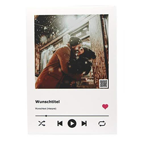 SCHILDER HIMMEL Personalisiertes Cover Musik Bild auf weißer Kunststoffplatte 21 x 15 cm, Wunschbild und Wunschtext