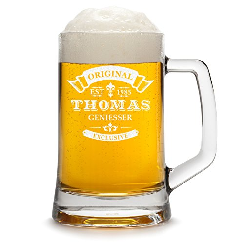 polar-effekt Bierkrug Personalisiert mit Gravur eines Namens und Jahreszahl - Bierseidel Geschenk zum Geburtstag mit - Motiv Original-Exklusive 0,3l