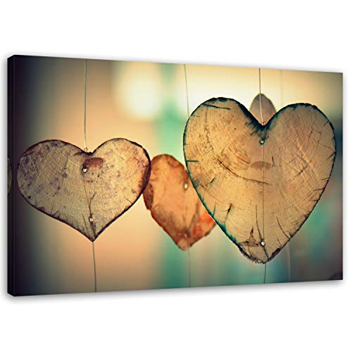 Feeby Leinwandbild 120x80 cm Herzen XXL Bild Wandbild Wanddekoration Deko Kunstdruck Vintage Holz Love Liebe Abstrakt Braun