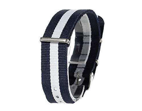 Miniblings Uhrenarmband Armbanduhr DAU HAU Armband Textil Nylon 20mm dunkelblau weiß - Modeschmuck Handmade - Damen Mädchen Bettelarmband