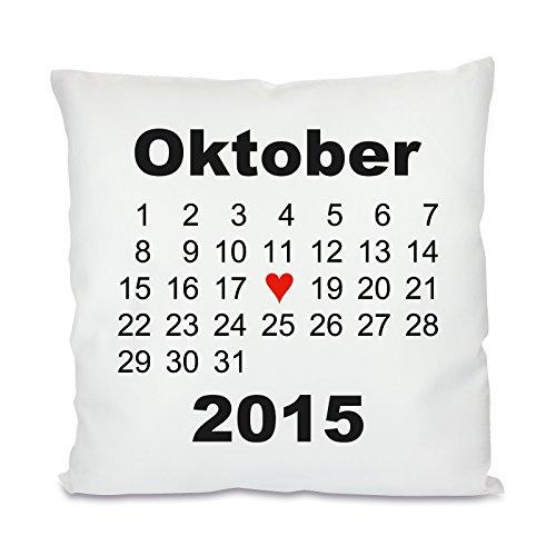 Herzbotschaft Kissen mit Motiv Modell: Herztag Kalender